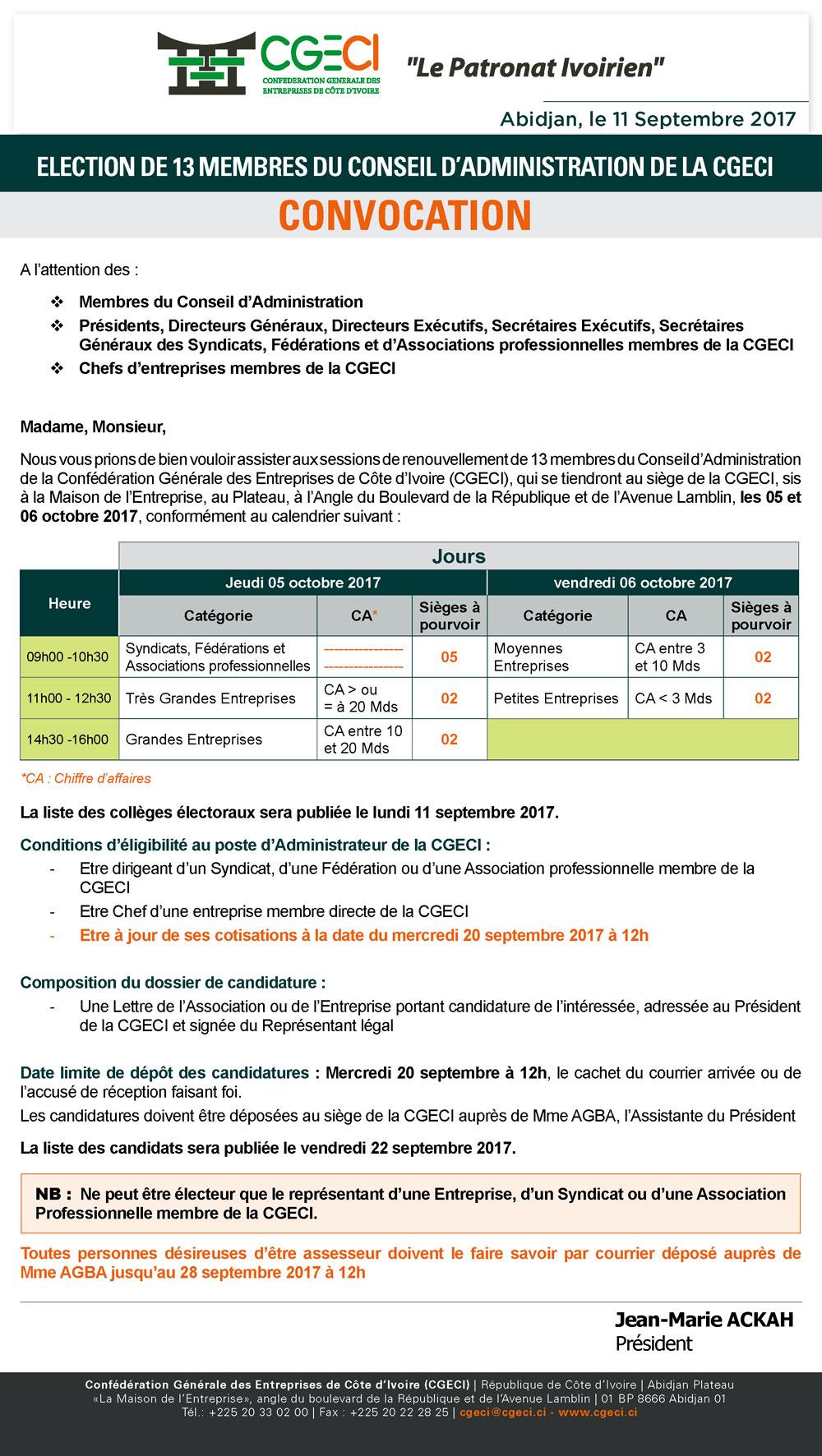 CONVOCATION POUR L'ELECTION DE 13 MEMBRES DU CONSEIL D' ADMINISTRATION DE LA CGECI