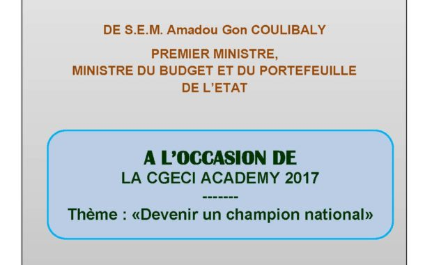 <strong>CGECI ACADEMY 2017 </strong> Allocution d'ouverture du PM