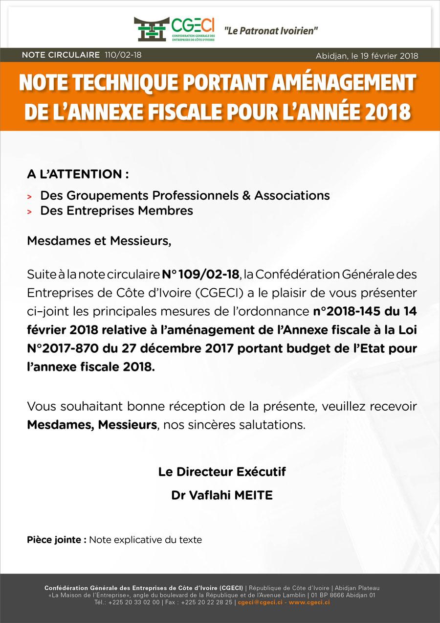 Note technique portant aménagement de l'Annexe Fiscale pour l'année 2018