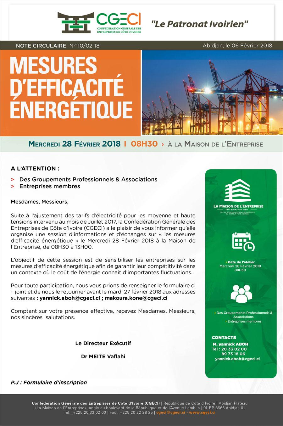 Invitation – session d'informations et d'Echanges sur les mesures d'efficacité énergétique
