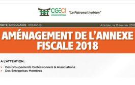 AMÉNAGEMENT DE L'ANNEXE FISCALE 2018