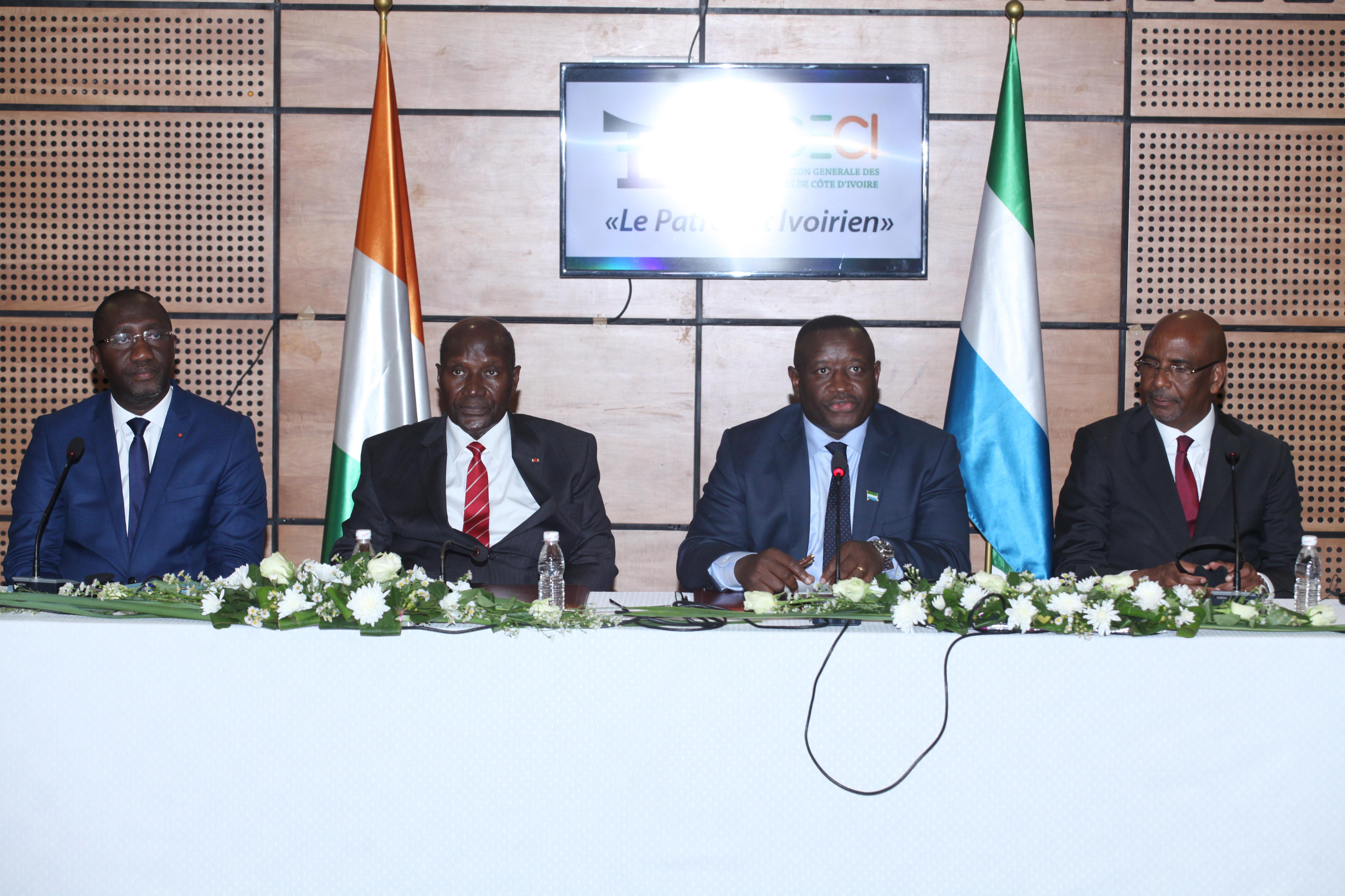 Coopération sud-sud :Le Chef de l'Etat sierra-léonais s'imprègne  de la dynamique de fonctionnement du Secteur privé ivoirien
