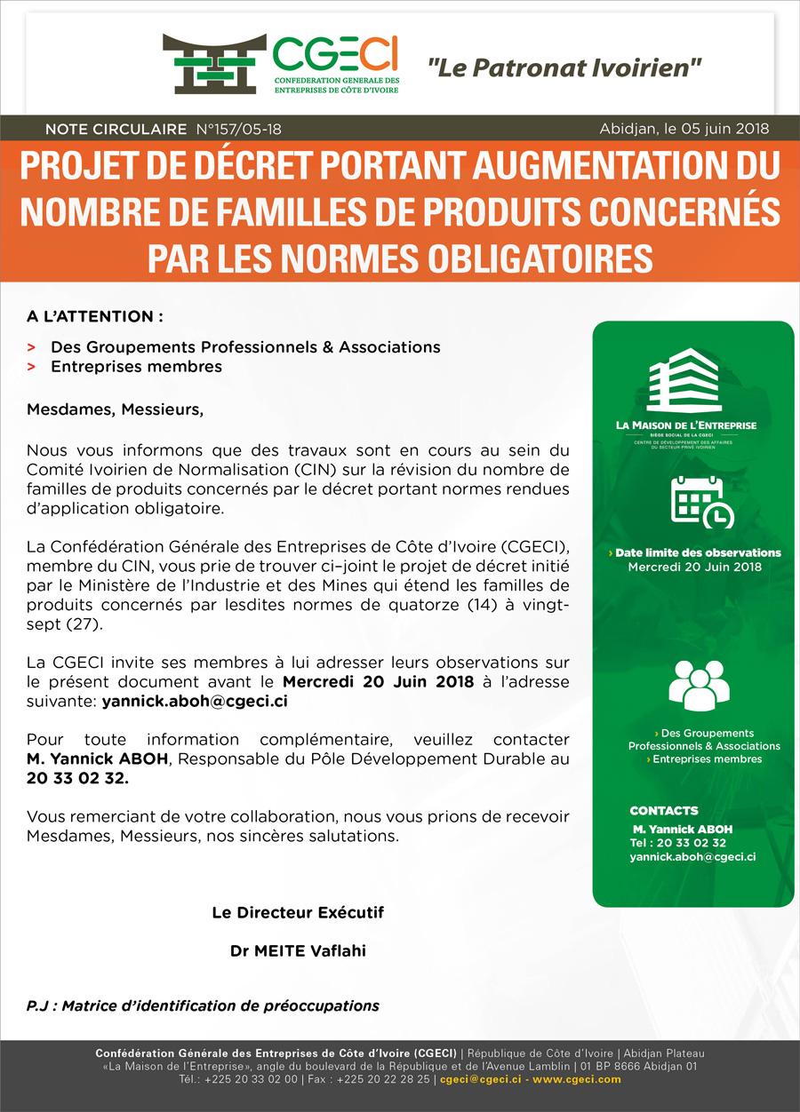 demande d'avis des membres adhérents sur le projet de texte portant à 27 le nombre de famille de produits concernés par les normes obligatoires