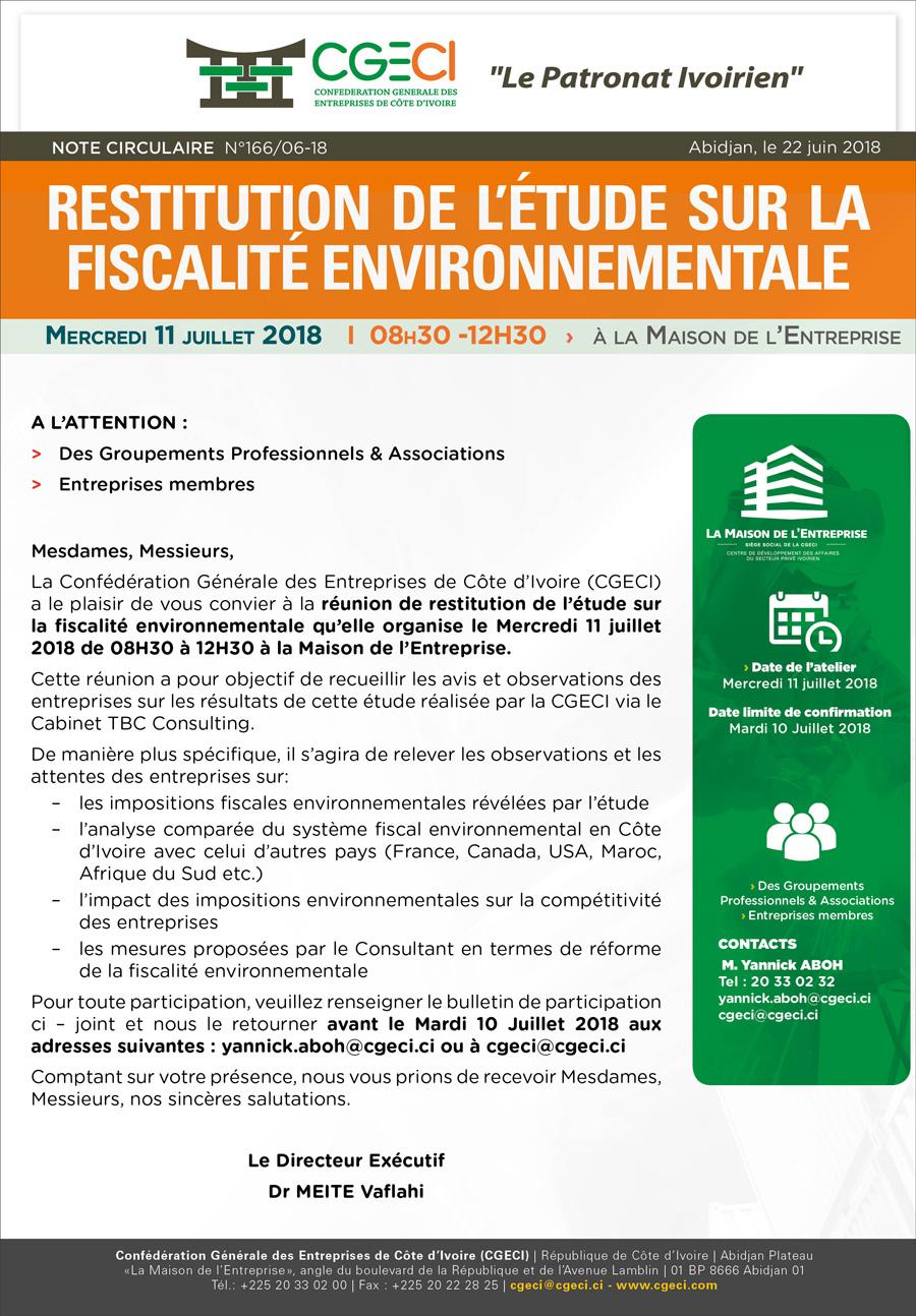 Restitution de l'ětude sur la fiscalité environnementale