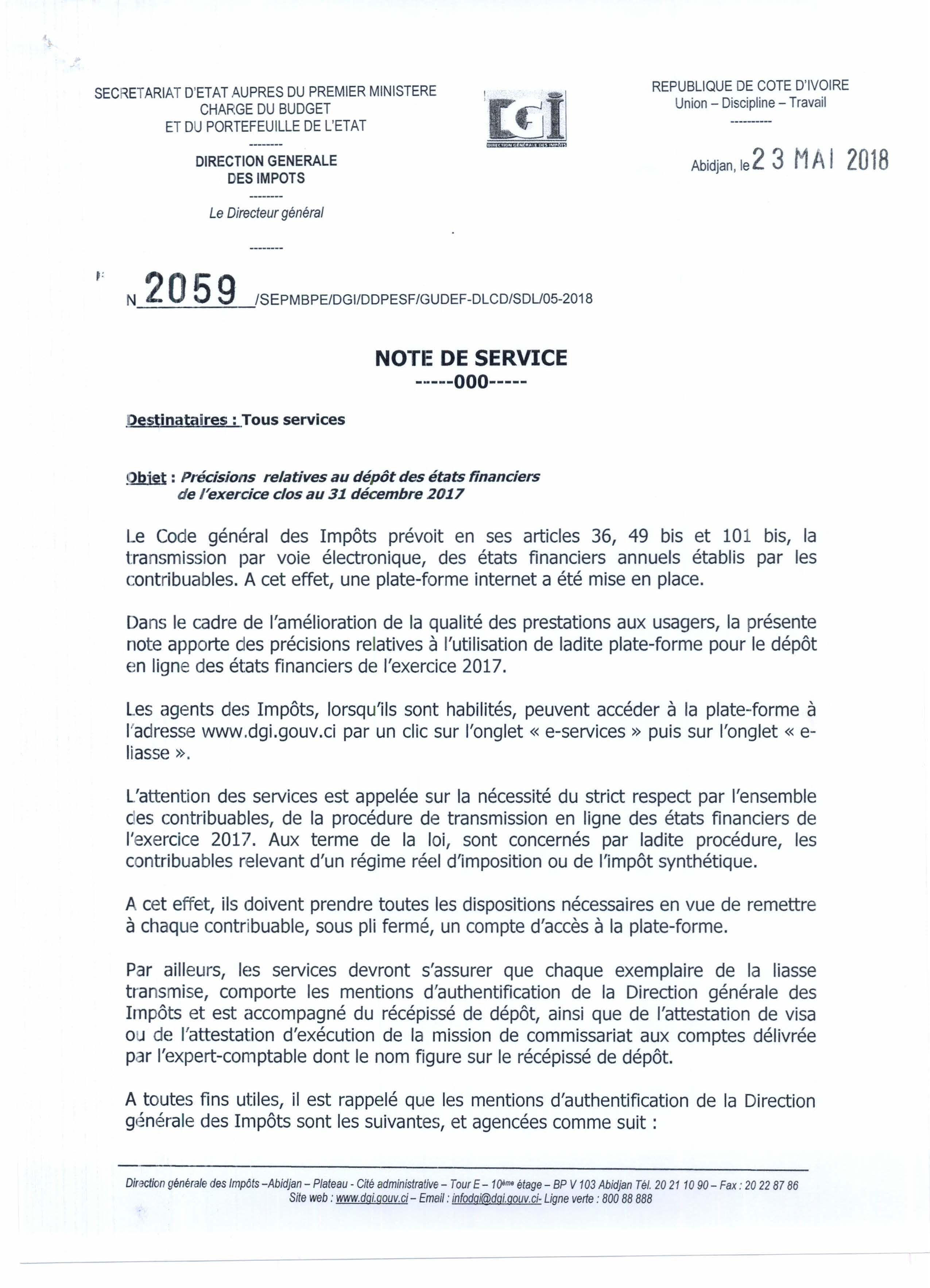 INFORMATION DEPOT DES ETATS FINANCIERS – Note interne de la DGI