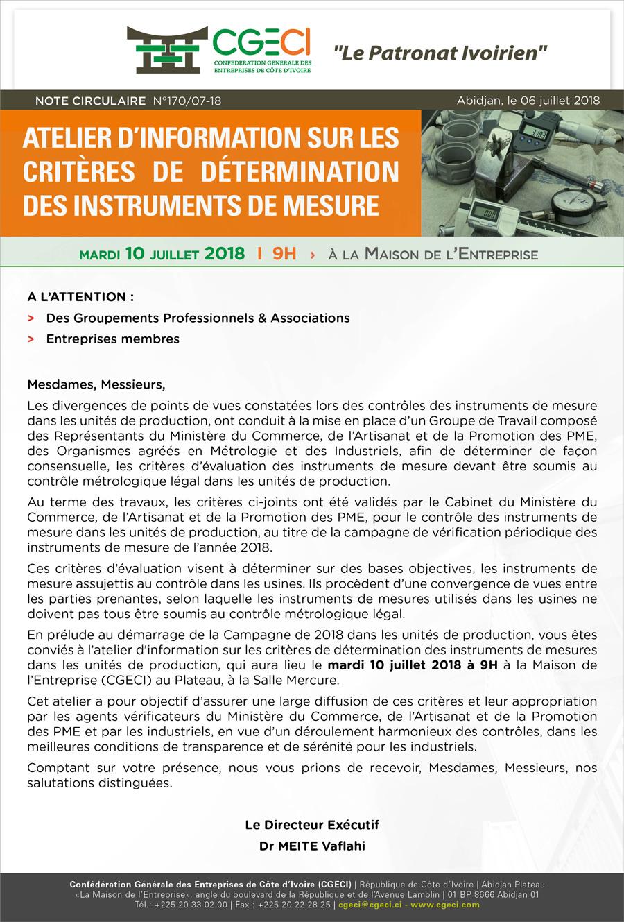 Urgent & Important| Atelier d'information sur les critères de détermination des instruments de mesure: proposition de Note circulaire