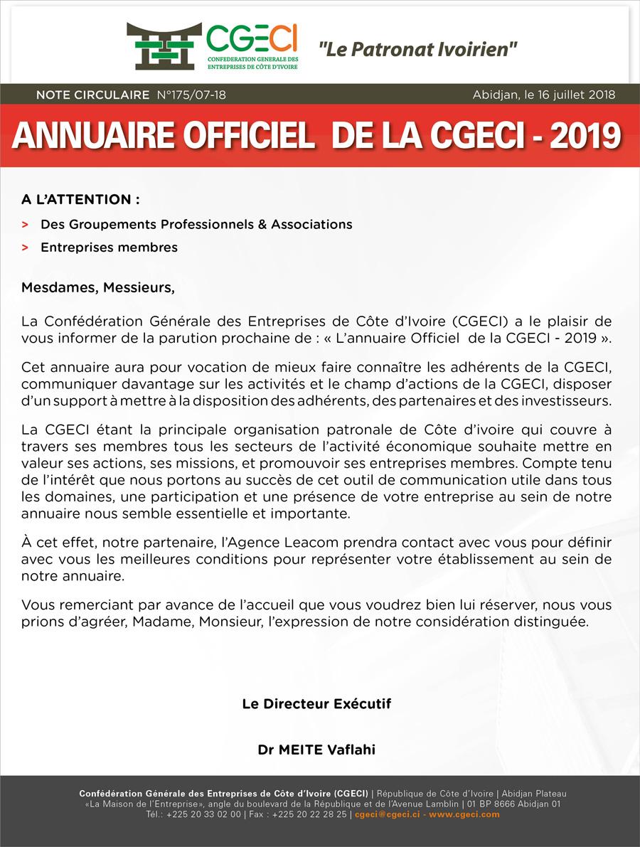 175  L'annuaire Officiel de la CGECI 2019