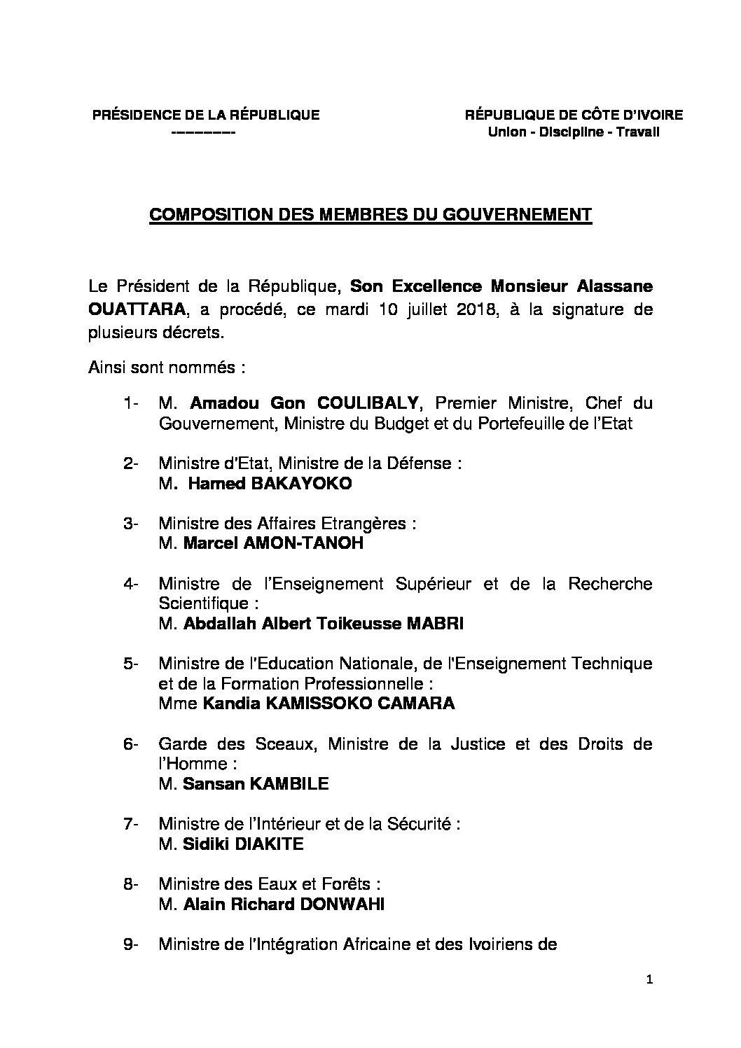 Composition des membres du Gouvernement - le 10 juillet 2018