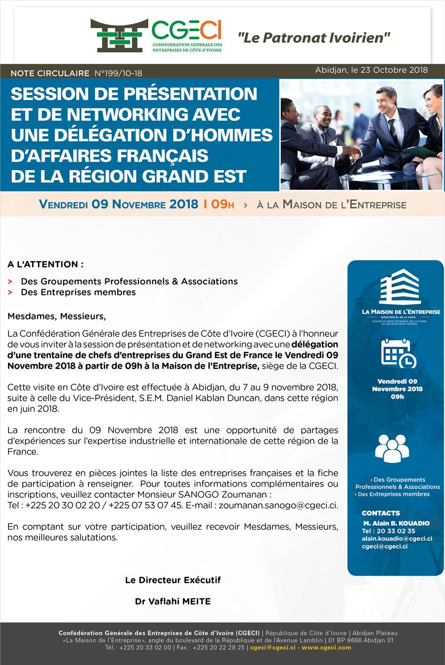 Session de présentation et de Networking avec une délégation d'hommes d'affaires français de la région Grand Est