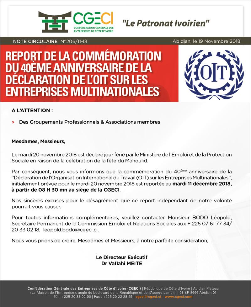 Report de la Commémoration du 40ème anniversaire de la Déclaration de l'OIT sur les Entreprises Multinationales