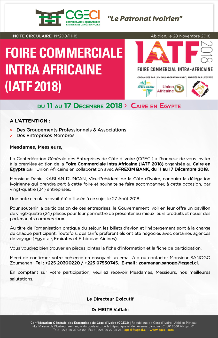 Foire Commerciale Intra Africaine (IATF 2018)
