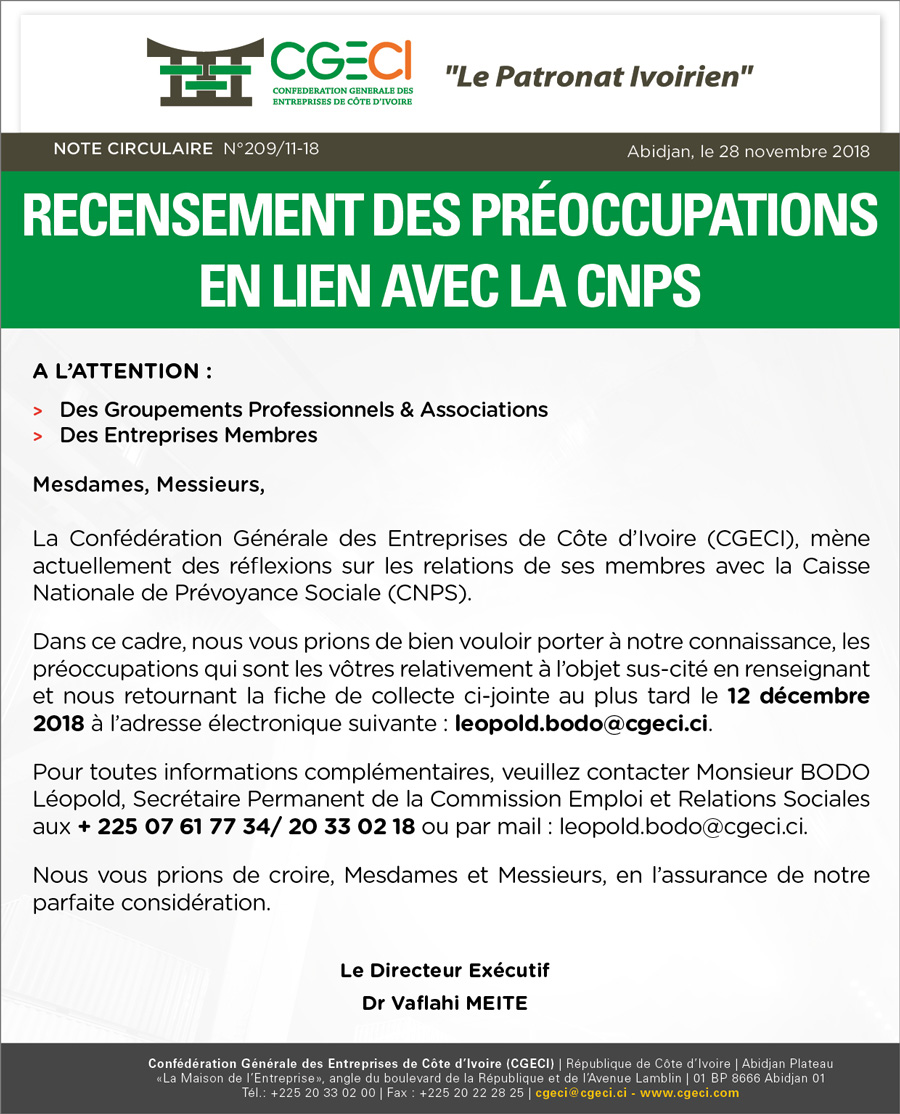 recensement des préoccupation en lien avec la CNPS