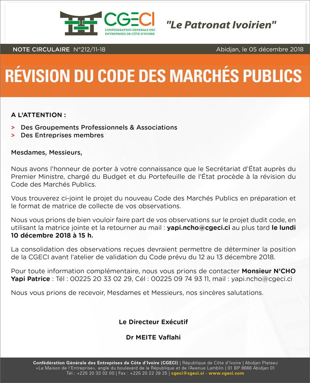 Révision du Code des Marchés Publics