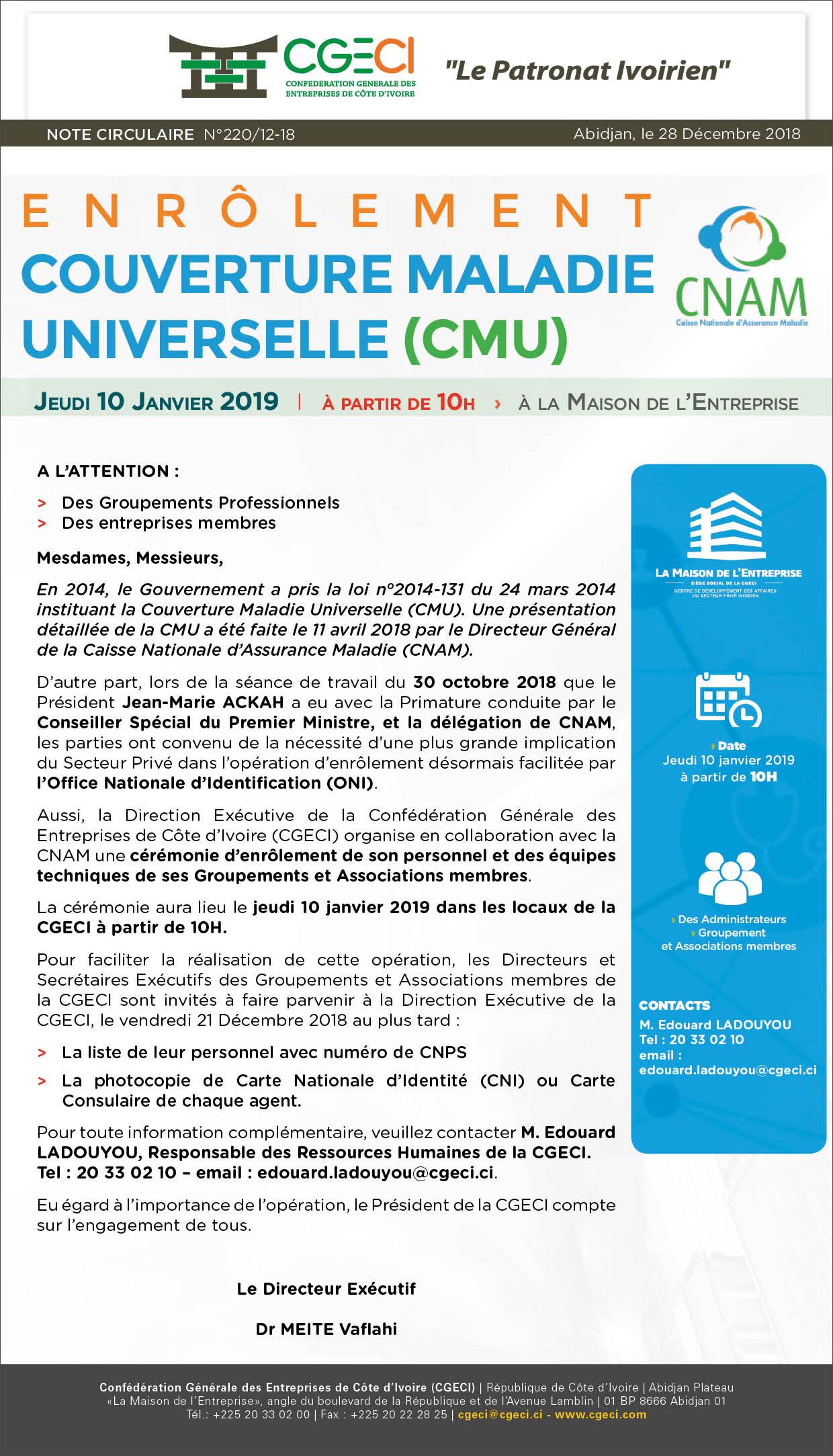 Enrôlement Couverture Maladie Universelle (CMU)