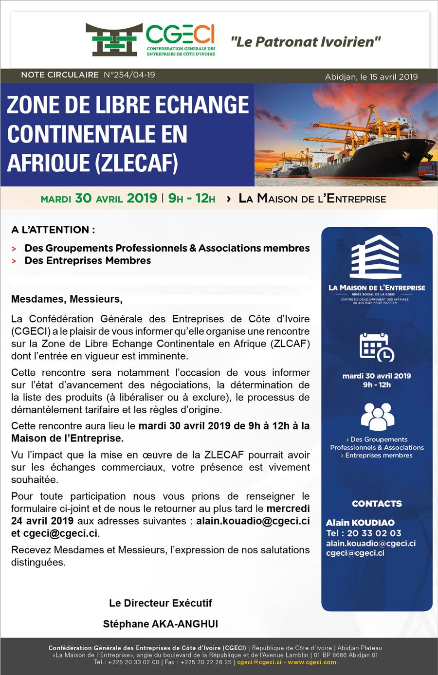 Zone de Libre Echange Continentale en Afrique (ZLECAF)