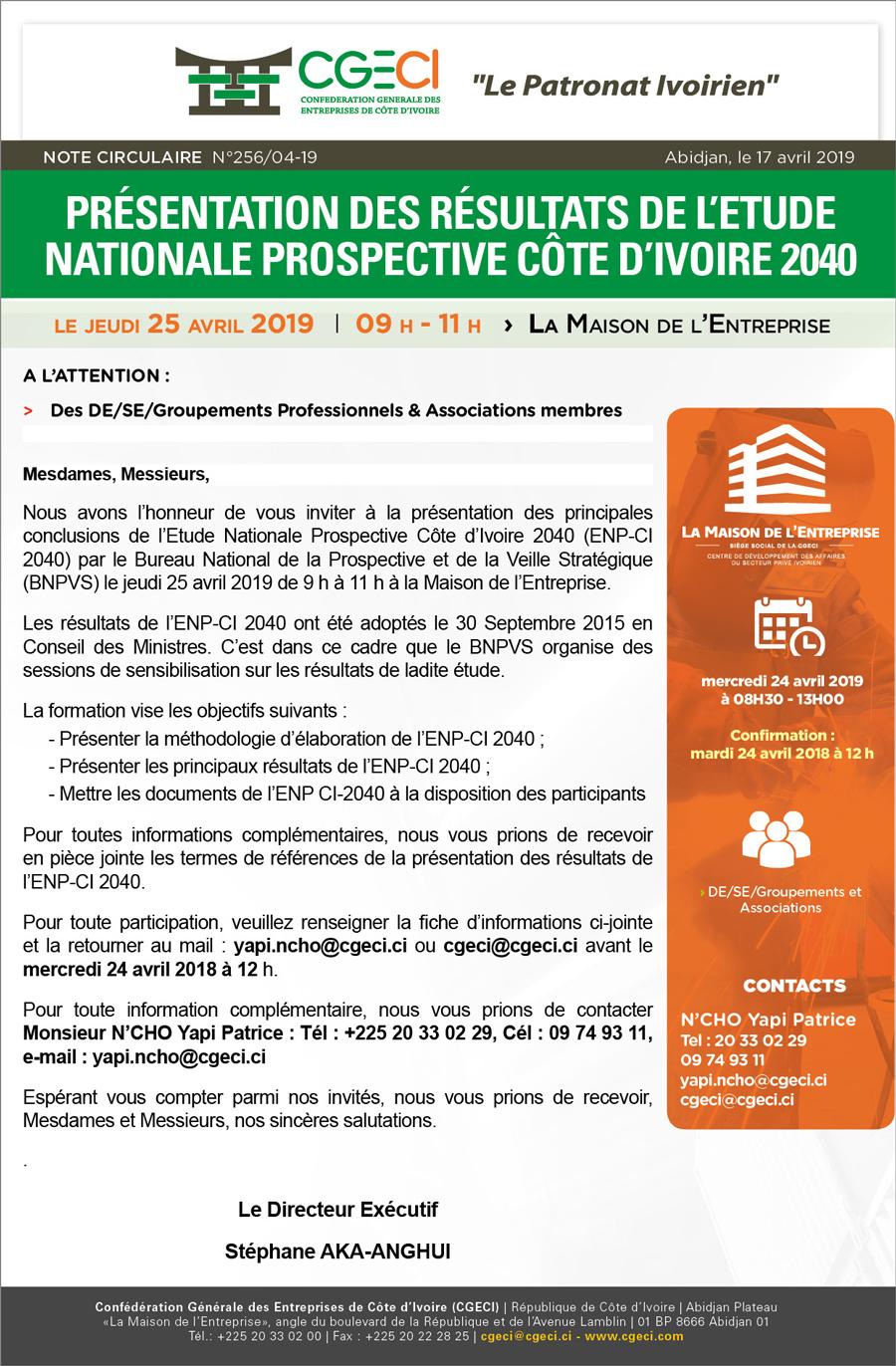 Présentation des Résultats de l'Etude Nationale Prospective Côte d'Ivoire 2040