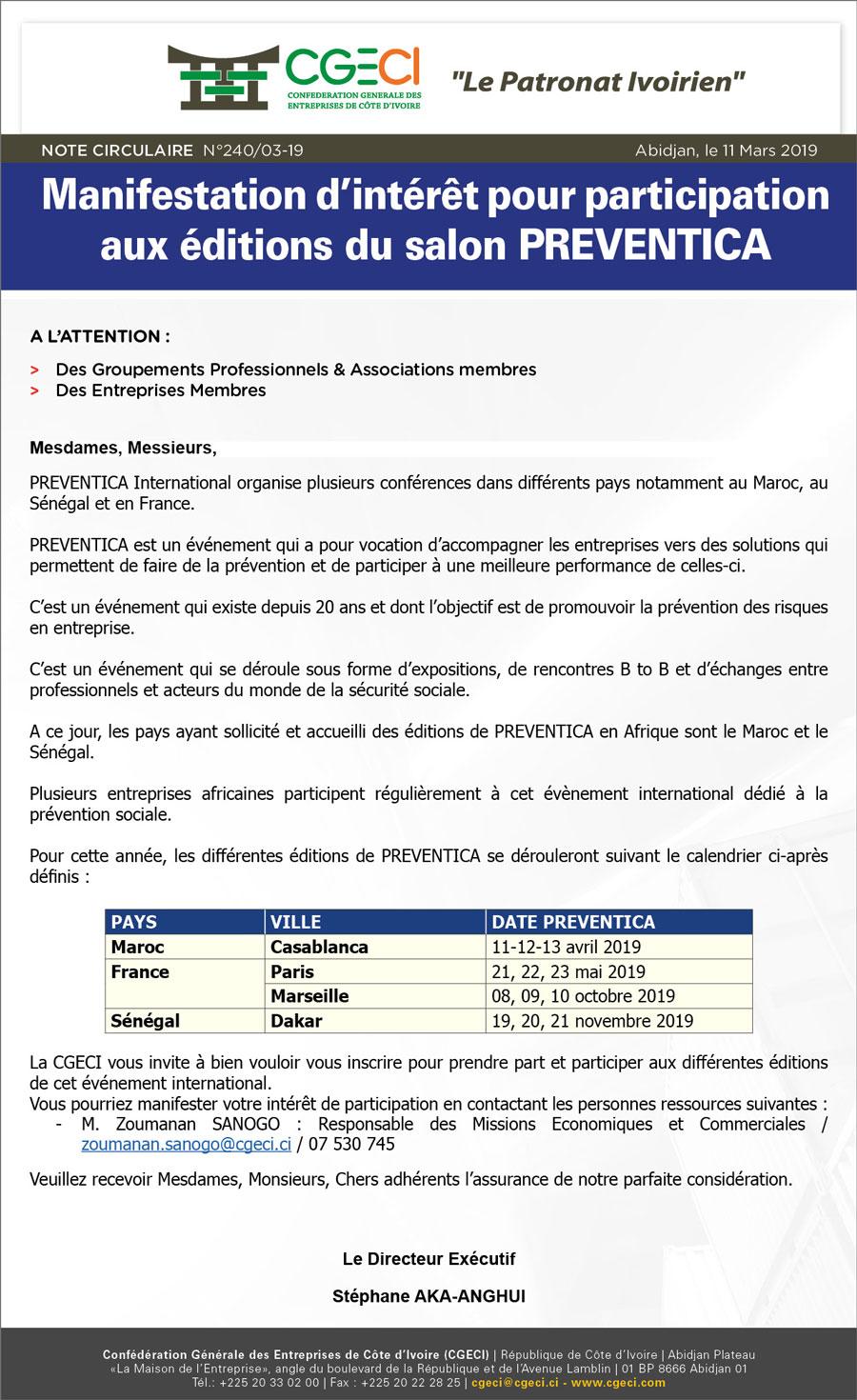 Manifestation d'intérêt pour participation aux éditions du salon PREVENTICA