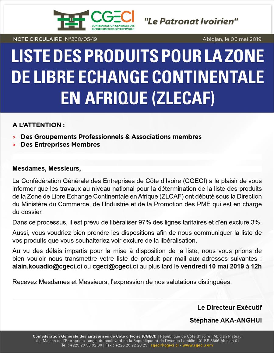 Liste des produits pour la Zone de Libre Echange Continentale en Afrique