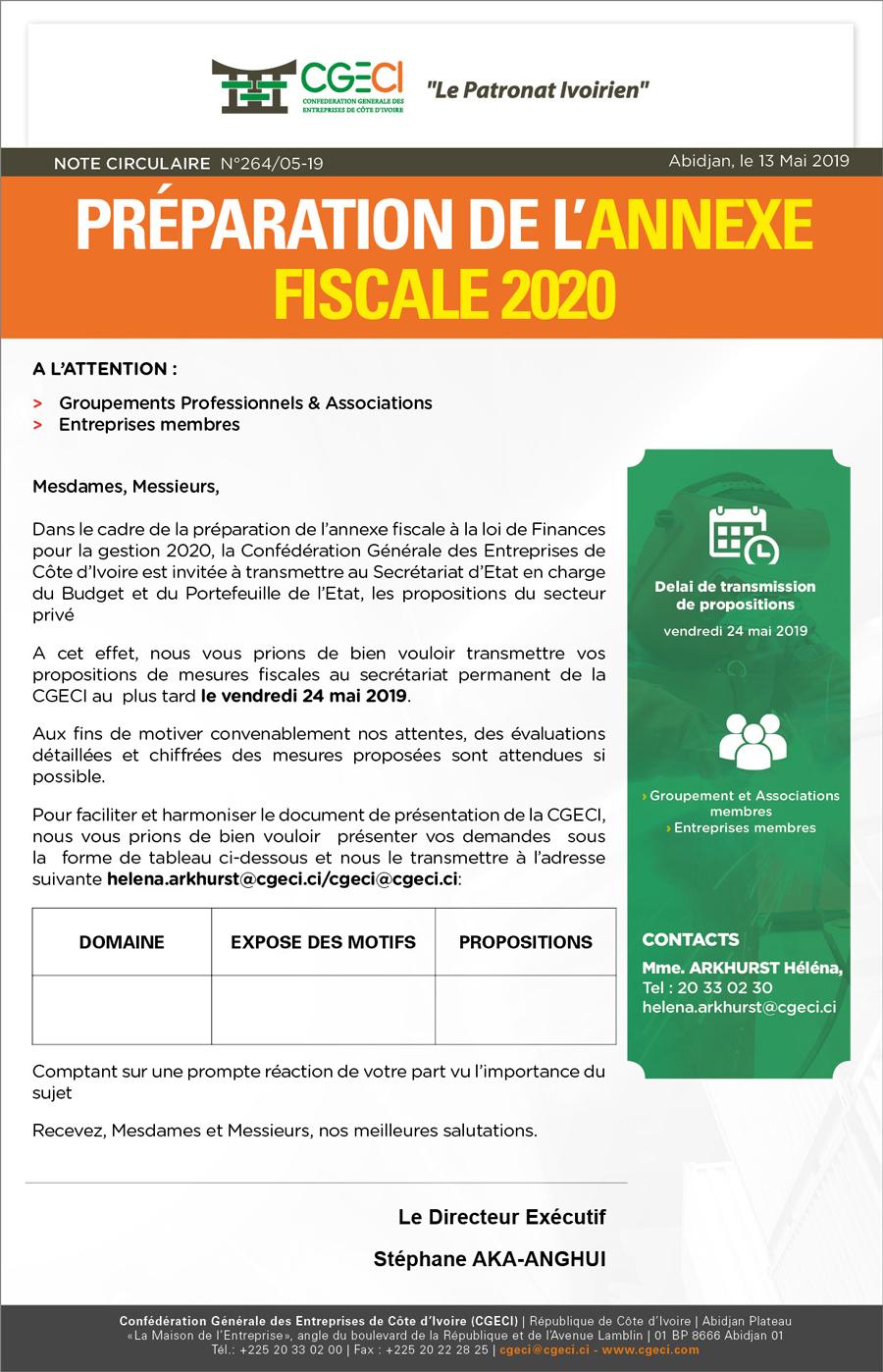 Préparation de l'annexe fiscale 2020