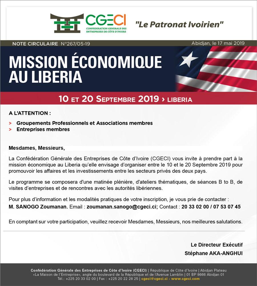 TR: circulaire Mission liberia