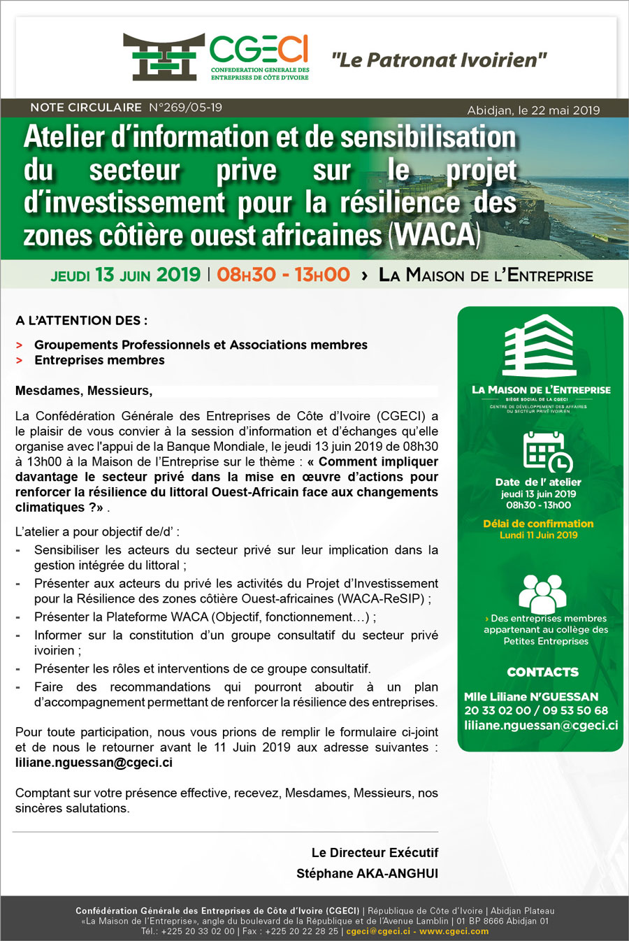 TR: Atelier d'information et de sensibilisation du secteur prive sur le projet d'investissement pour la résilience des zones côtière ouest africaines (WACA)