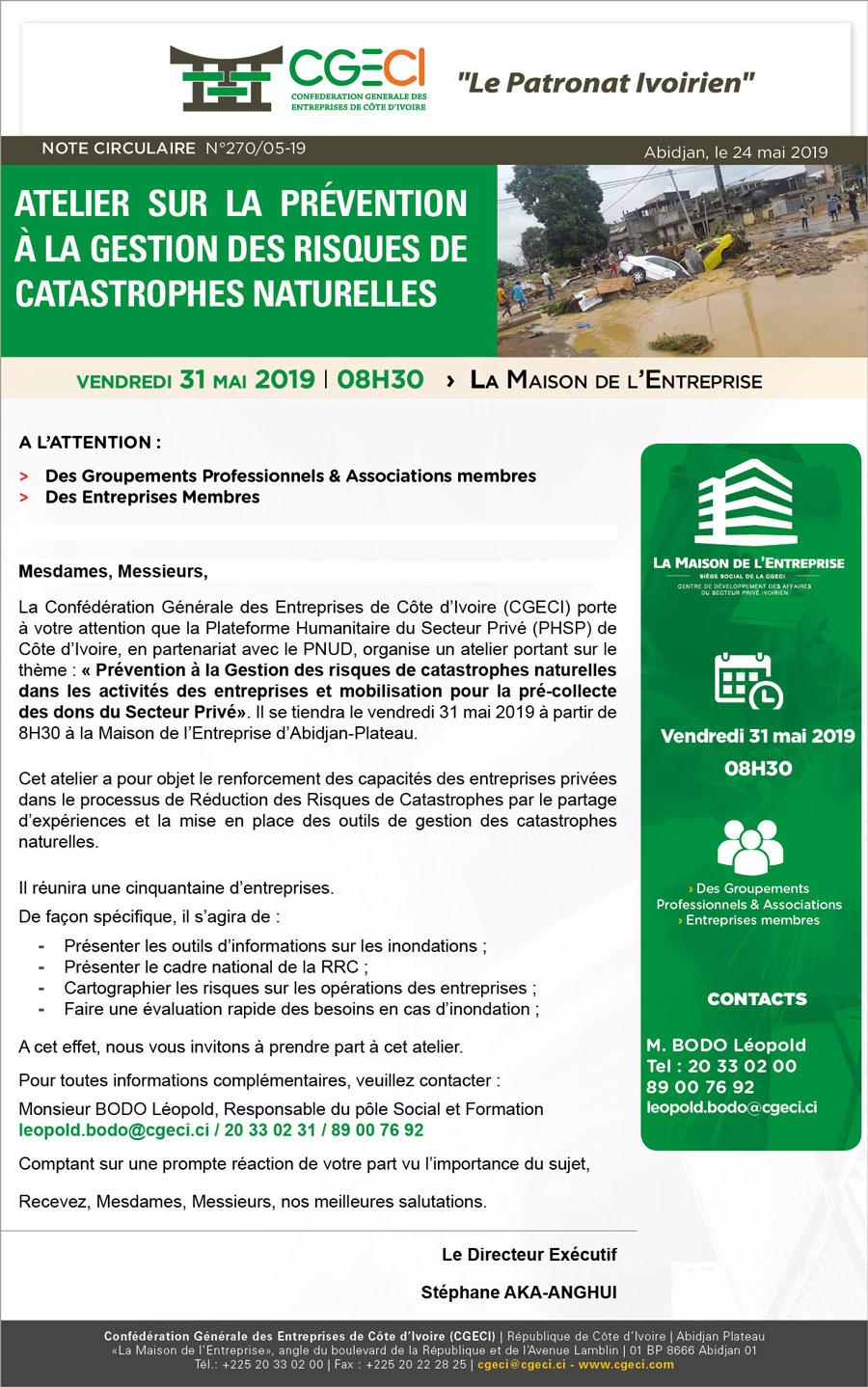 Atelier sur la prévention à la gestion des risques de catastrophes naturelles