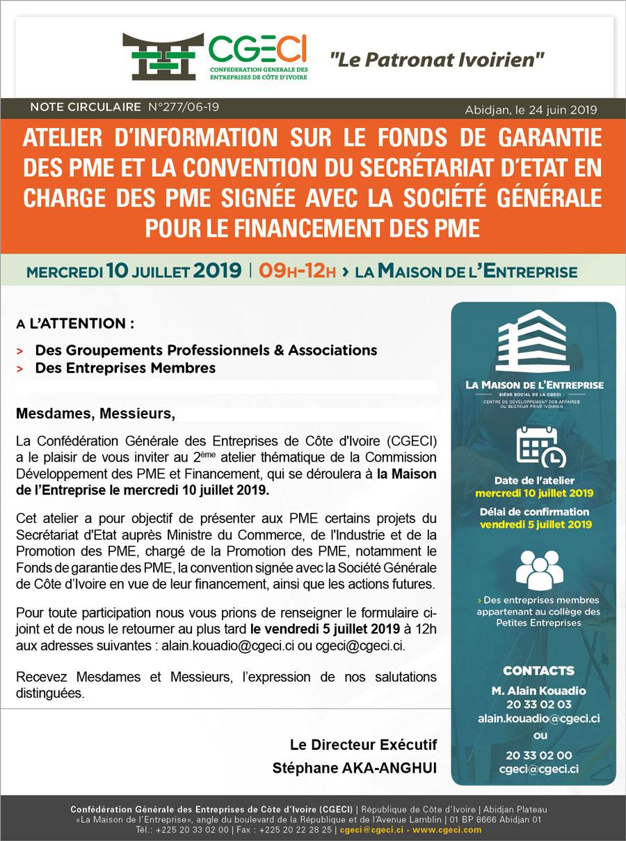 Atelier d'information sur le fonds de garantie des PME et la convention du Secrétariat d'Etat en charge des PME signée avec la Société Générale pour le financement des PME