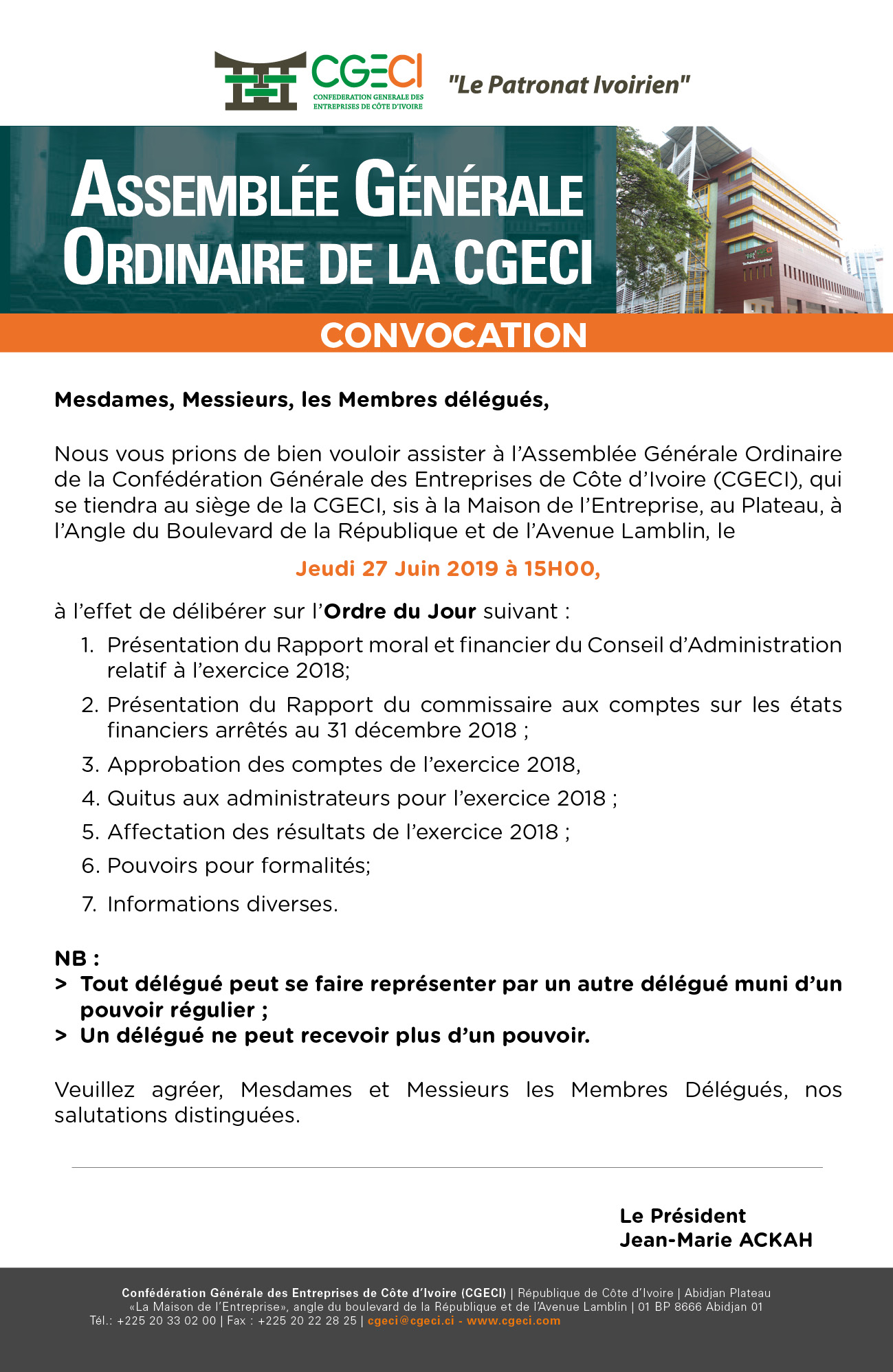 Assemblée Générale Ordinaire de la CGECI du 27 juin 2019