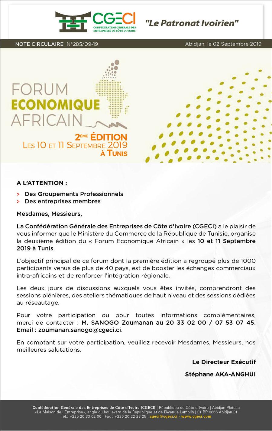 NC 285 2è Edition du Forum Economique Africain