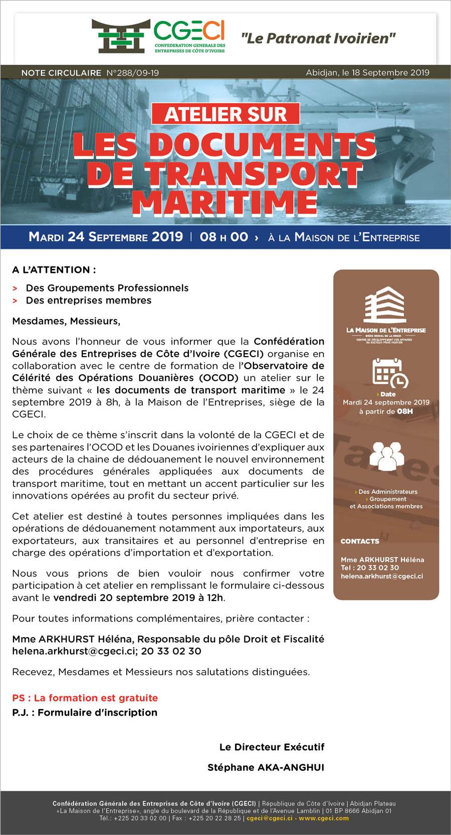 les documents de transport maritime