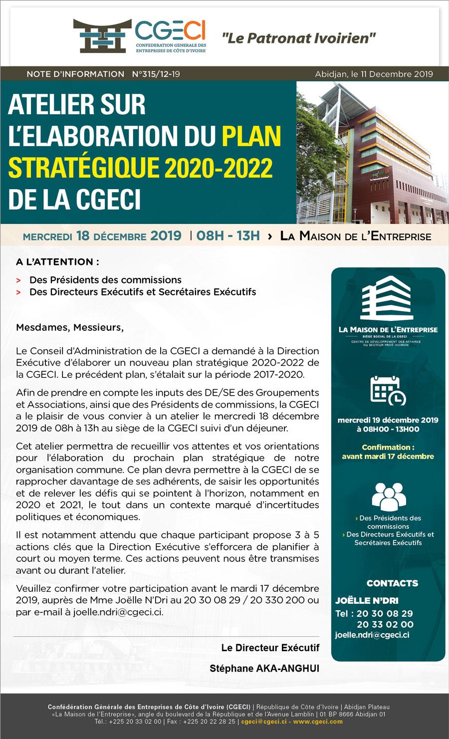 Atelier sur l'élaboration du plan stratégique 2020-2022 de la CGECI