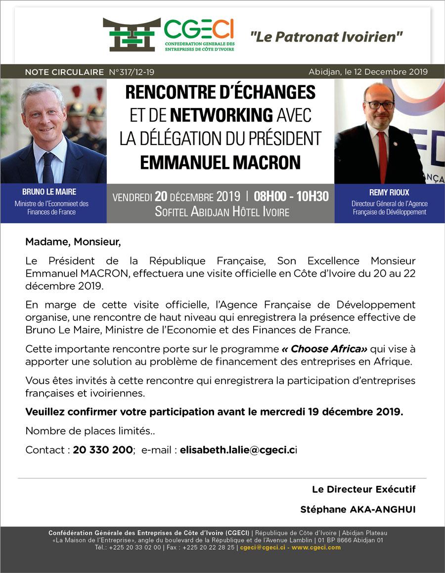 Rencontre d'échanges et de networking avec la Délégation du Président EMMANUEL MACRON