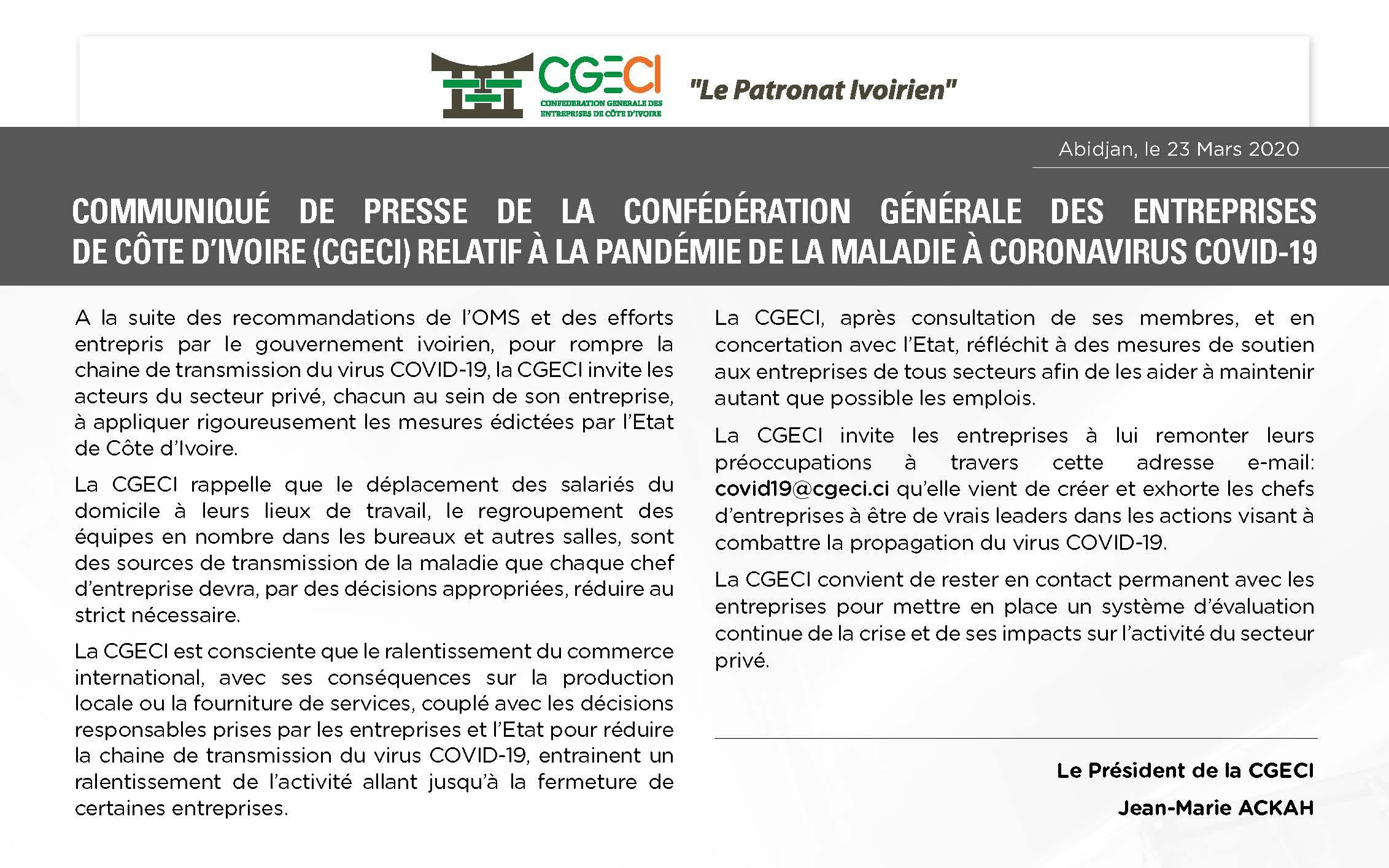 COMMUNIQUÉ DE LA CGECI