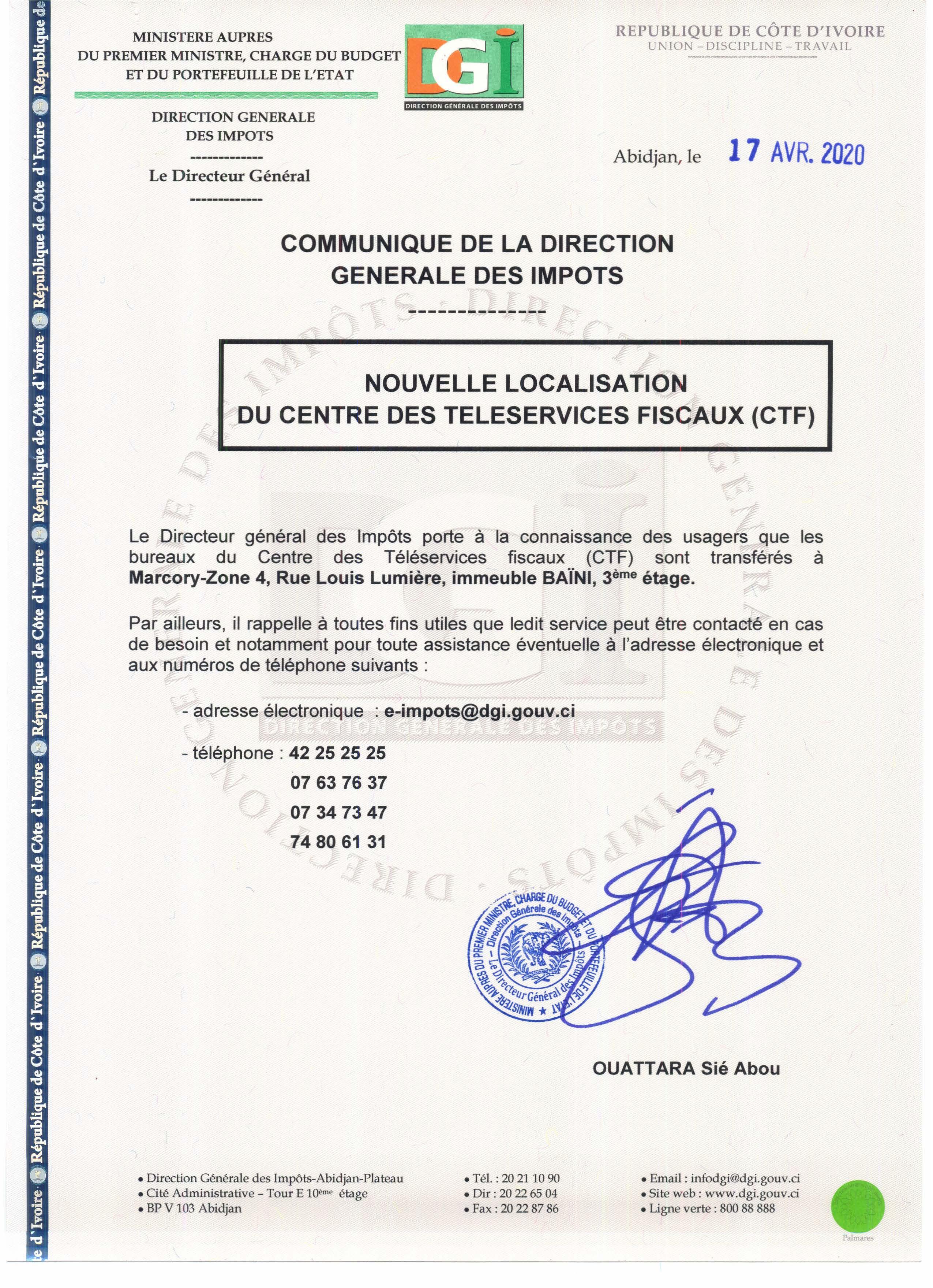 Communiqué DGI : Nouvelle localisation du Centre de Téléservices fiscaux