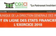 COMMUNIQUE DGI - DEPOT EN LIGNE DES ETATS FINANCIERS DE L'EXERCICE 2018