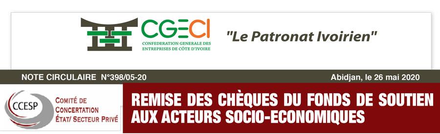 REMISE DES CHÈQUES DU FONDS DE SOUTIEN AUX ACTEURS SOCIO-ECONOMIQUES