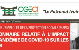TR: Questionnaire relatif à l'impact de la pandémie DE Covid-19 sur les emplois du Ministère de l'Emploi et de la Protection Sociale (MEPS))