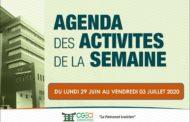 AGENDA DE LA SEMAINE DU 29 JUIN AU 03 JUILLET 2020