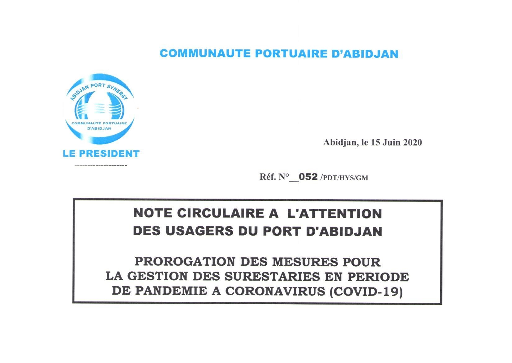 Note circulaire 052 du Pdt CPA PROROGATION des mesures de gestion des surestaries en peěriode de COVID-19 du 15 06 2020