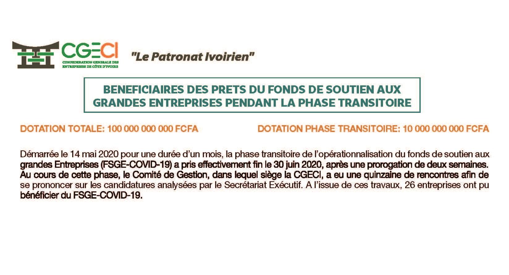LISTE EXHAUSTIVE DES BENEFICIAIRES DES PRETS FSGE PENDANT LA PHASE TRANSITOIRE AU 30 JUIN 2020
