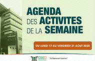 AGENDA DE LA SEMAINE DU 17 AU 21 AOUT 2020