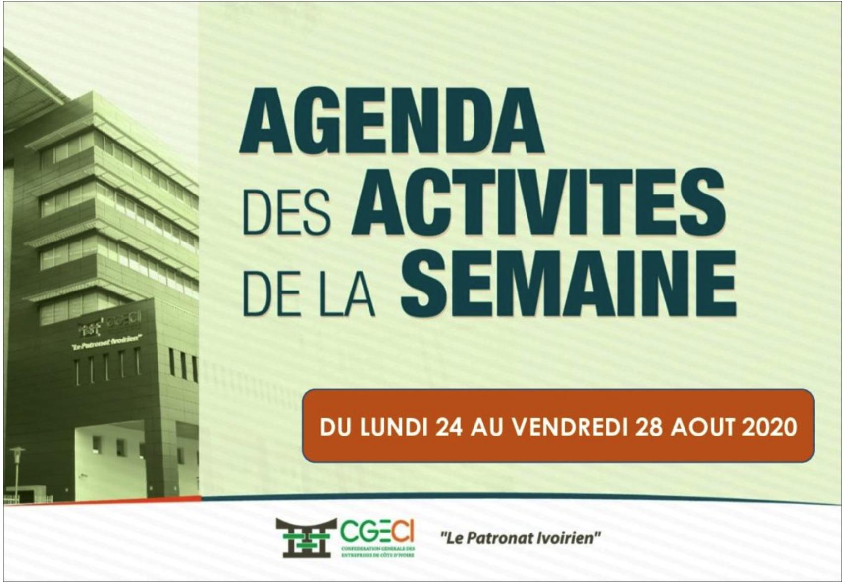 AGENDA DE LA SEMAINE DU 24 AU 28 AOUT 2020