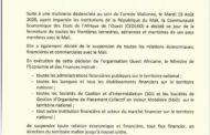 COMMUNIQUE DU MINISTERE DE L'ECONOMIE ET DES FINANCES