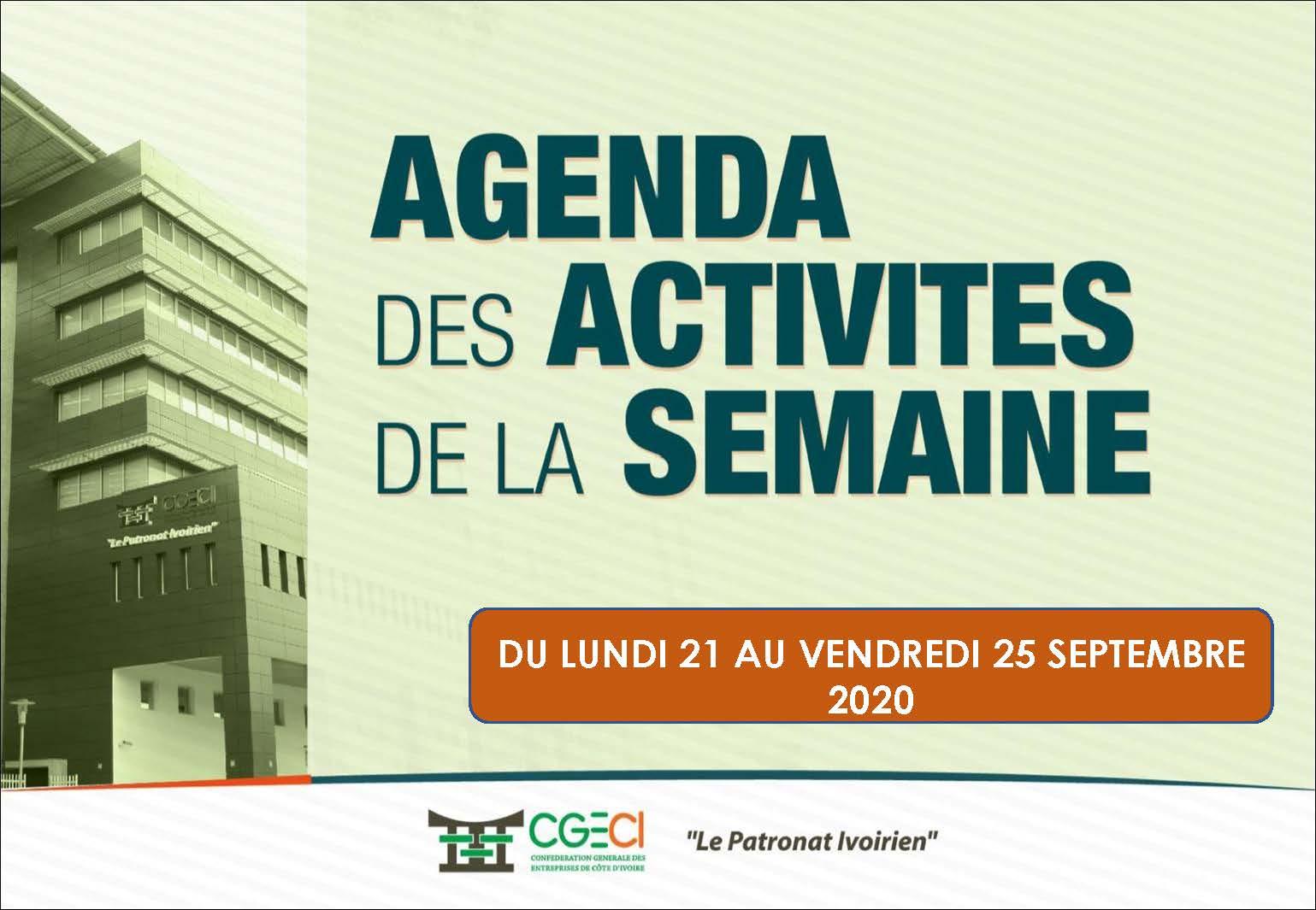 AGENDA DE LA SEMAINE DU 21 AU 25 SEPTEMBRE 2020