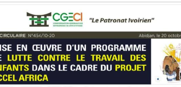 NOTE CIRCULAIRE N°454/10-20 PROJET ACCEL AFRICA