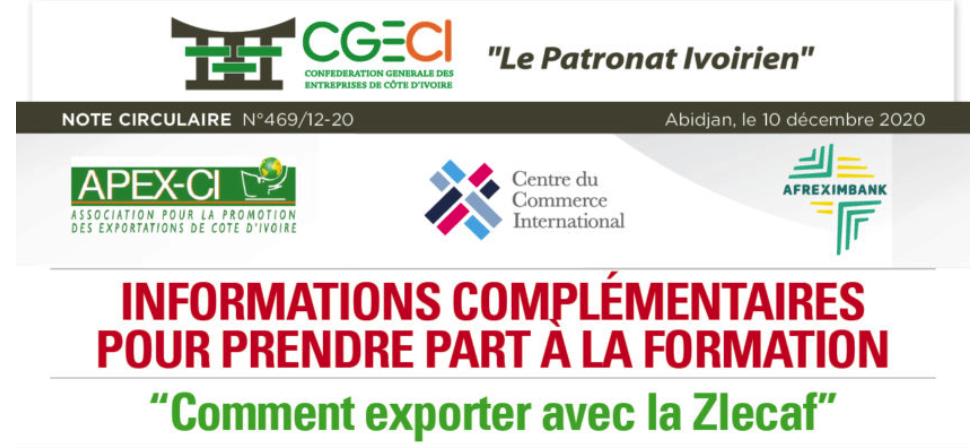 """NC 469-2 - Inscrivez-vous aà un cours en ligne gratuit ! """"Comment exporter avec la Zlecaf"""""""