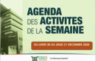 AGENDA DE LA SEMAINE DU 28 AU 31 DECEMBRE 2020