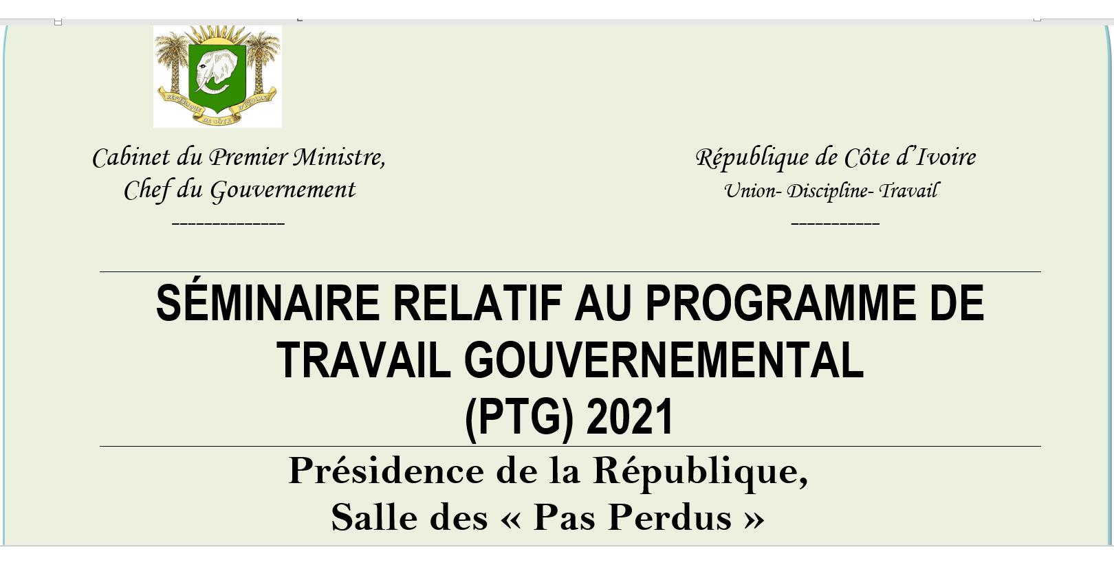 Communiqué du séminaire gouvernemental