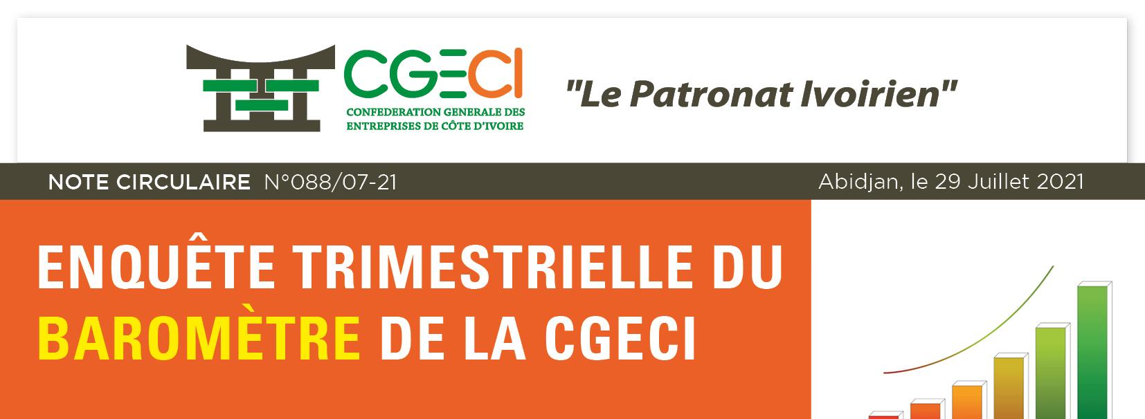 Enquête trimestrielle du baromètre de la CGECI