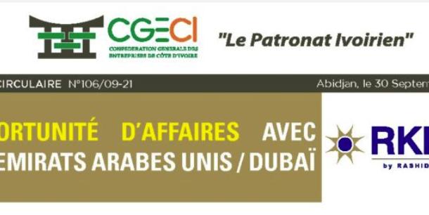 NOTE CIRCULAIRE N°106- OPPORTUNITES D'AFFAIRES AVEC LES EMIRATS ARABES UNIS